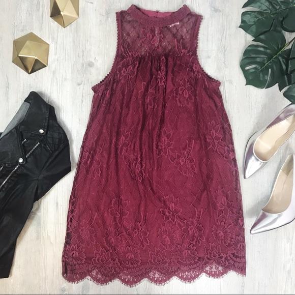 53a139d3d Coco + Jaimeson Dresses | Coco Jaimeson High Neck Lace Merlot Color ...